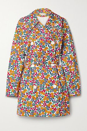 Belted Double-breasted Floral-print Cotton-blend Twill Coat - White