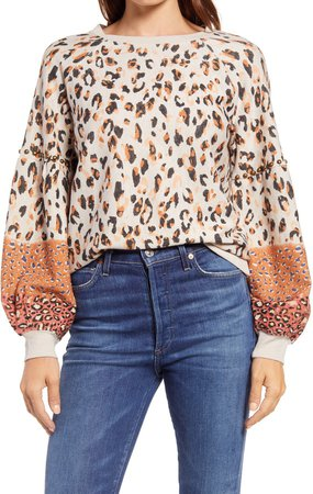 Leopard Print Blouson Sleeve Sweatshirt