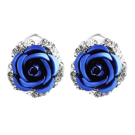 Amazon.com: Ownsig Womens Delicate Rose Flower Rhinestone Ear Stud Earrings Blue: Beauty