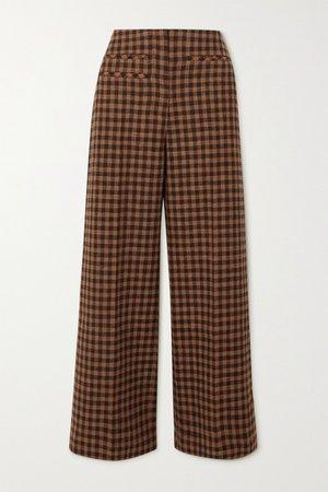 Brown Lexi checked wool and cotton-blend wide-leg pants   REJINA PYO   NET-A-PORTER