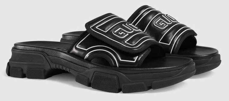 GUCCI Black Logo Velcro Sliders