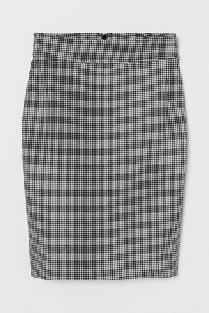 Patterned pencil skirt - Black/Dogtooth-patterned - Ladies   H&M IN