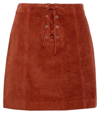 **Lola Skye Orange Corduroy Lace Skirt