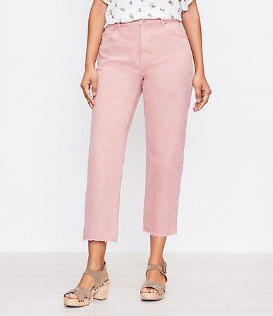 The Curvy High Waist Straight Crop Jean in Blush Shadow