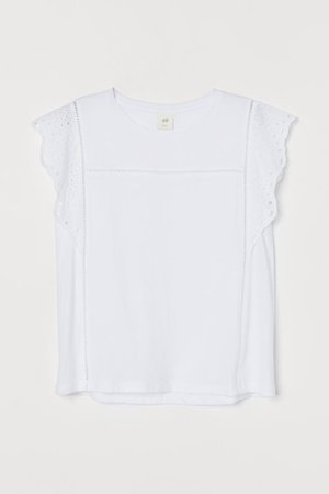 Broderie anglaise-detail top - White - Ladies | H&M GB