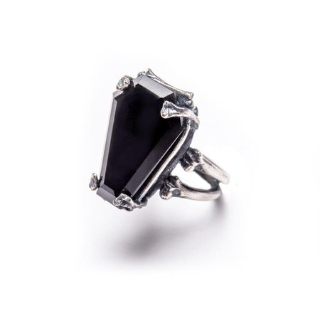 Easeful Death. Large Onyx Coffin Ring. – Blood Milk Jewels