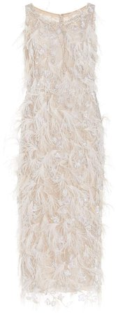 Marchesa Feathered Tulle Cocktail Dress