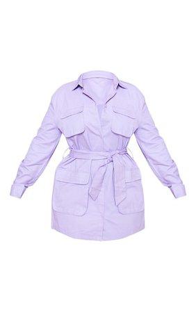 Plus Lilac Utility Tie Waist Shirt Dress | PrettyLittleThing