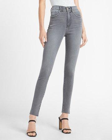 High Waisted Black Raw Hem Skinny Jeans