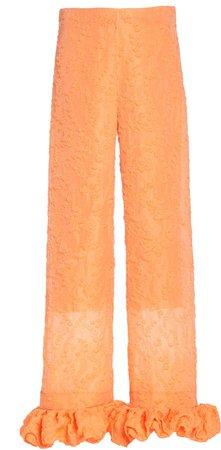 Rosie Assoulin Ruffled Jacquard Straight-Leg Pants