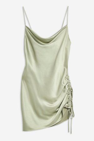 Ruched Satin Mini Slip Dress   Topshop