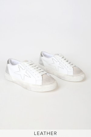 Steve Madden Rezume - White Leather Sneakers - Distressed Sneaks