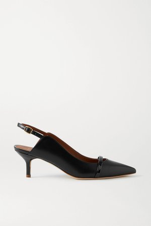Black Marion 45 patent-trimmed leather slingback pumps | Malone Souliers | NET-A-PORTER