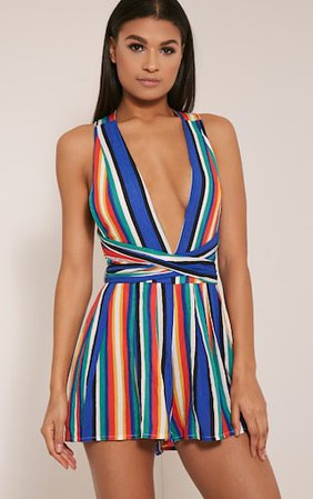 Ailee Multi Stripe Tie Back Playsuit   PrettyLittleThing