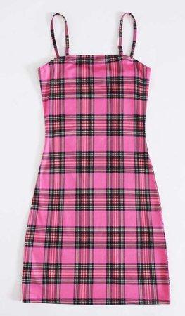 hot pink checkered dress