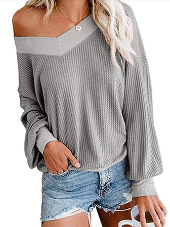 AUSELILY Women's Long Sleeve V Neck Off The Shoulder Loose Knit Sweater and Casual Blouses
