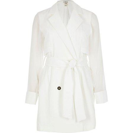 White chiffon hybrid blazer dress | River Island