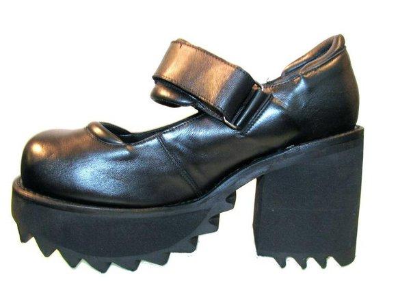 Platform Mary Jane Shoes Vintage Muro Black Leather Industrial | Etsy