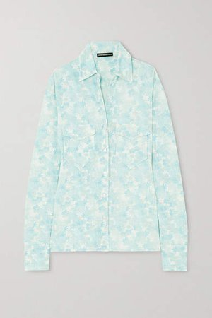 Floral-print Stretch-jersey Shirt - Light blue