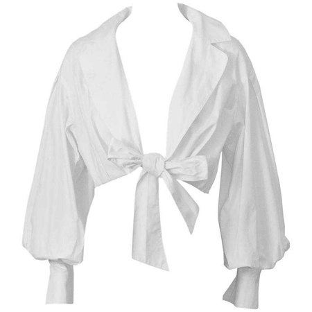 1980's Montana White Cropped Tie-up Blouse at 1stdibs