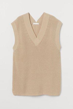 Wide sweater vest - Beige - Ladies | H&M GB