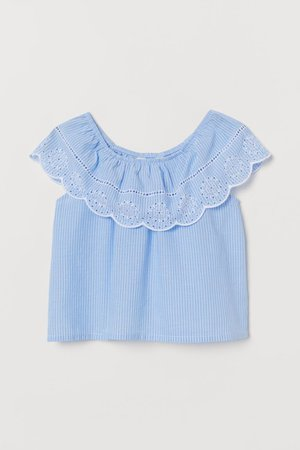 Bohemian blouse - Light blue/Striped - Kids | H&M GB