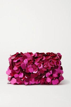 Envelope Embellished Velvet Clutch - Pink