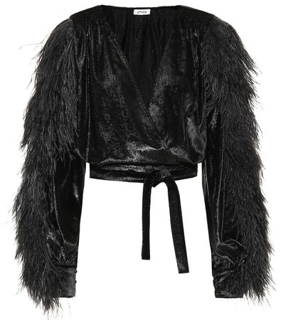 Attico Feather-trimmed wrap top | Mytheresa