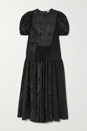 Satin-jacquard Midi Dress - Black