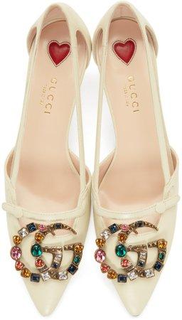 Gucci: White GG Crystal Bamboo Unia Heels | SSENSE