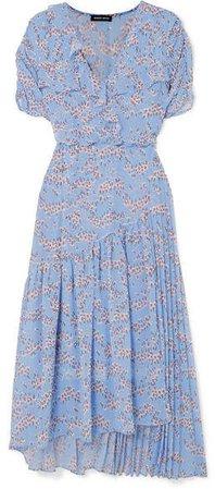 Nevada Wrap-effect Ruffled Floral-print Georgette Midi Dress - Sky blue
