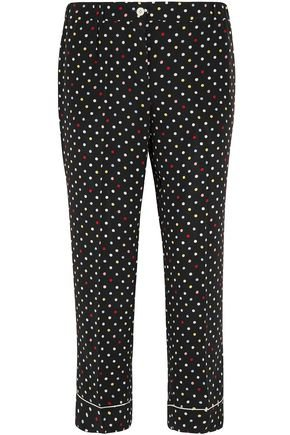 Cropped polka-dot silk crepe de chine straight-leg pants | MIU MIU | Sale up to 70% off | THE OUTNET