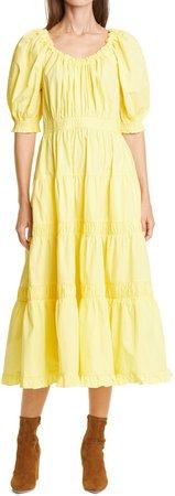Puff Sleeve Ruffle Midi Dress