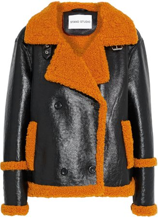 Lilli Double-breasted Glossed Faux Shearling Jacket