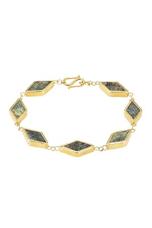 Gold Plated Silver Bracelet with Chrysocolla Gr. One Size