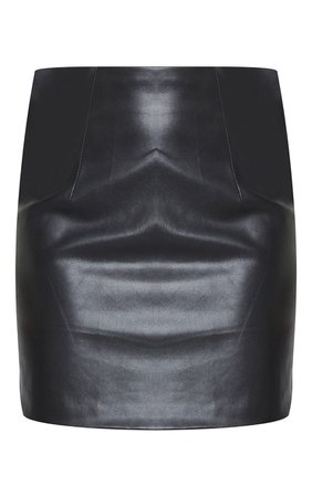 Black Faux Leather Basic Mini Skirt | PrettyLittleThing