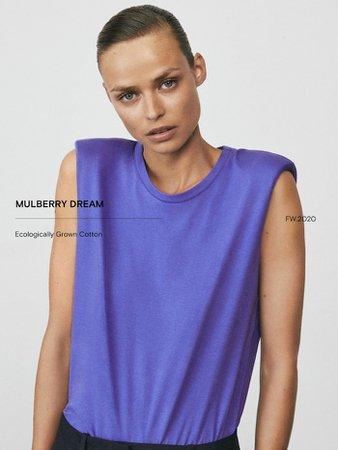Vatka detaylı pamuklu top - Kadın - Massimo Dutti