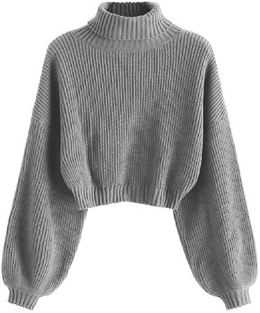 ZAFUL Women's High Neck Lantern Sleeve Ribbed Knit Pullover Crop Sweater Jumper (A-Red, L) at Amazon Women's Clothing store