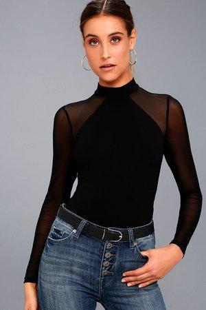 Sexy Black Mock Neck Bodysuit - Mesh Long Sleeve Bodysuit
