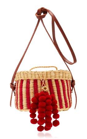 Kiki Small Striped Pompom-Embellished Raffia Shoulder Bag by Nannacay   Moda Operandi