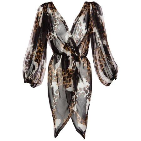 1990s Yves Saint Laurent Sheer Silk Leopard Animal Print Dress Jacket YSL For Sale at 1stdibs