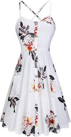 KILIG Women's Summer Sundress Spaghetti Strap Button Down Dress with Pockets at Amazon Women's Clothing store