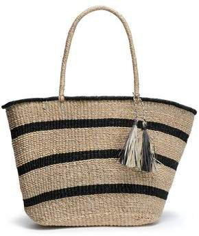 Tasseled Striped Straw Tote