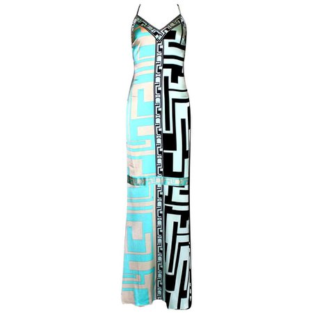 Emilio Pucci Signature Print Silk Evening Gown Maxi Dress For Sale at 1stdibs