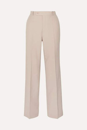 Woven Wide-leg Pants - Cream