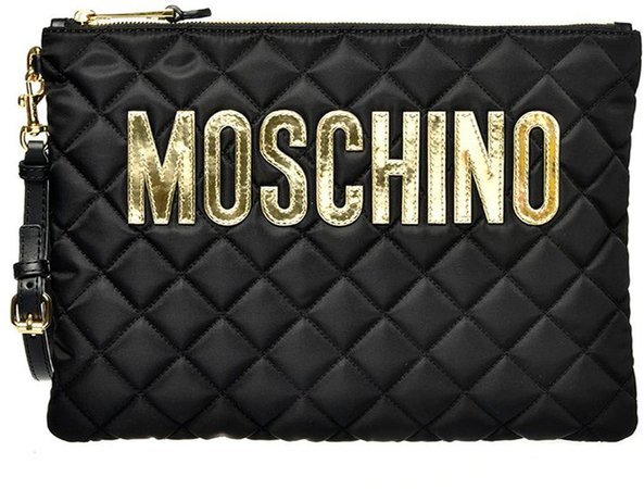 Logo Quilted Nylon Clutch