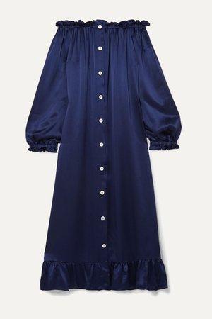 Navy Off-the-shoulder ruffled silk-satin midi dress | Sleeper | NET-A-PORTER