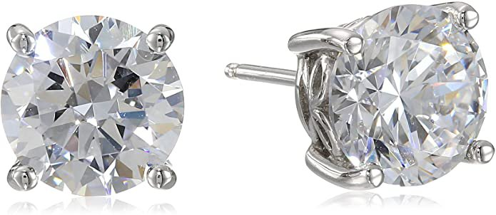 Amazon.com: Platinum Plated Sterling Silver Stud Earrings set with Round Cut Swarovski Zirconia (5 cttw): Clothing