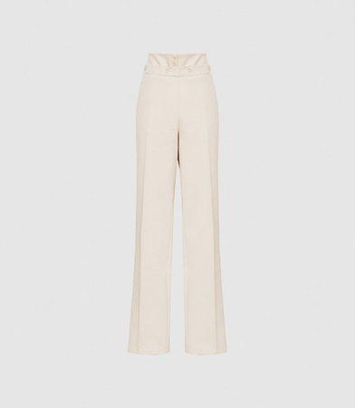 Otis Neutral Wide Leg Tailored Trousers – REISS