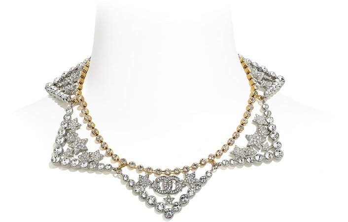 Necklace, metal and strass, gold, silver and glass - CHANEL
